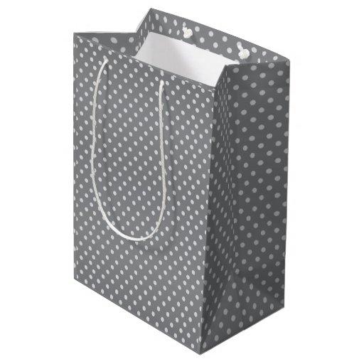 Gray and White Polka Dots Pattern Medium Gift Bag