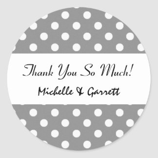 Gray and White Polka Dots Wedding Collection Round Sticker