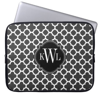 Gray and White Quatrefoil Pattern Monogram Computer Sleeves