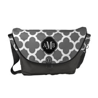 Gray and White Quatrefoil Pattern Monogram Courier Bags
