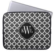 Gray and White Quatrefoil Pattern Monogram Laptop Sleeve