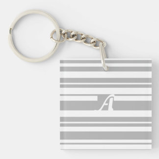Gray and White Random Stripes Monogram Keychain