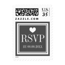 Gray and white RSVP response wedding stamps