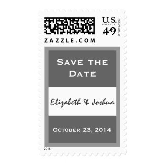 Gray and White Save the Date Bride & Groom Date Postage Stamps