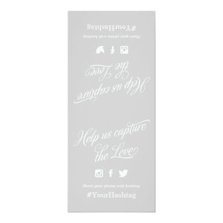 Gray and White Script Wedding Hashtag Sign Card