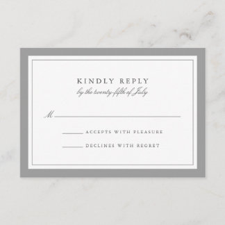 Gray and White Simple Border Wedding RSVP Card