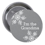 Gray and White Snowflake I'm the Grandma Pinback Buttons