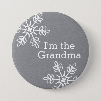 Gray and White Snowflake I'm the Grandma Pinback Button