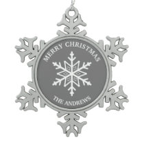 Gray and White Snowflake Pewter Christmas Ornament