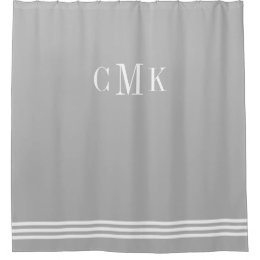 Gray And White Sophisticated Stripes And Monogram Shower Curtain