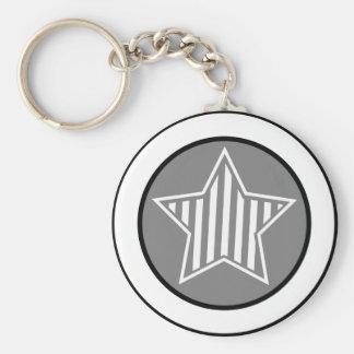 Gray and White Star Keychain