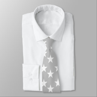 Gray and White Star Pattern Tie