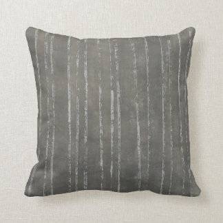 Gray and white stripe pattern throw pillow