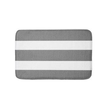 Beach Themed Gray and White Striped Custom Bathroom Rug