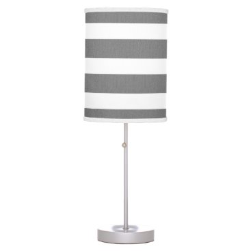 Beach Themed Gray and White Striped Custom Table Lamp