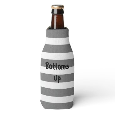 Beach Themed Gray and White Striped Custom Text Bottle Cooler