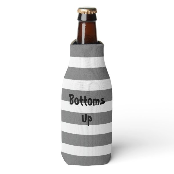 Gray and White Striped Custom Text Bottle Cooler