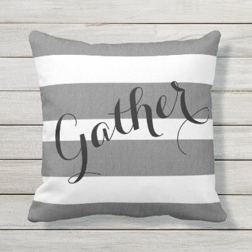 Beach Themed Gray and White Striped Gather Outdoor Pillow