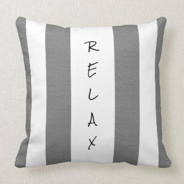 Beach Themed Gray and White Striped Relax Pillow