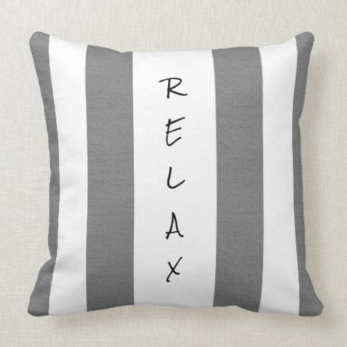 Gray and White Striped Relax Pillow