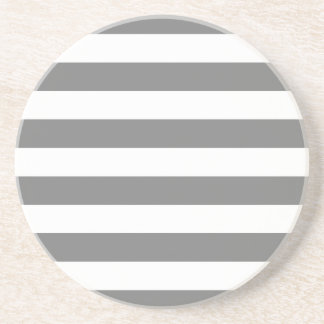 Gray and White Stripes Drink Coaster