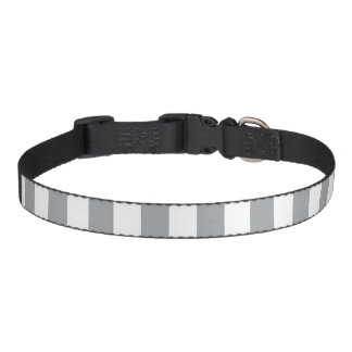 Gray and White Stripes Pet Collar
