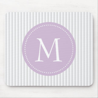 Gray And White Stripes Purple Custom Monogram Mouse Pad