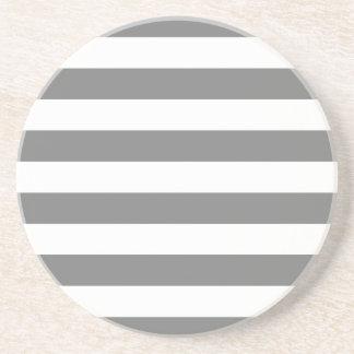Gray and White Stripes Sandstone Coaster