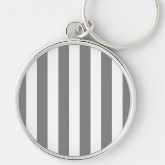 Gray and White Stripes Silver-Colored Round Keychain