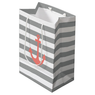 Gray and White Stripes with Coral  Nautical Anchor Medium Gift Bag
