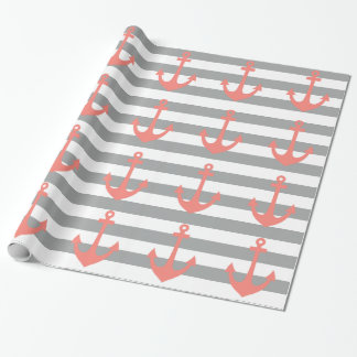 Gray and White Stripes with Coral  Nautical Anchor Wrapping Paper