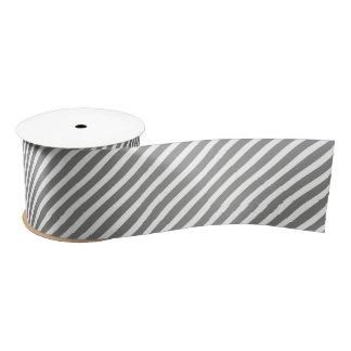 Gray and White Stripes Satin Ribbon