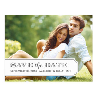 Gray and White Tab Modern Photo Save the Date Post Cards