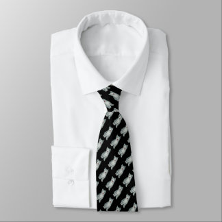 gray and white tabby kitten original design neck tie