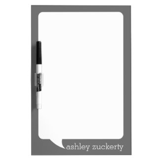 Gray and White Talk Bubble Personalized Name Dry Erase Board