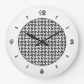 Gray and White Textured Houndstooth Pattern Large Clock