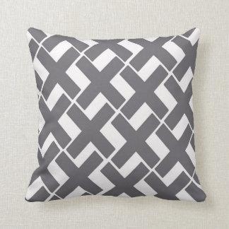 Gray and White Throw Pillow