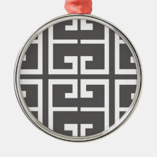 Gray and White Tile Metal Ornament