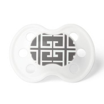 Aztec Themed Gray and White Tile Pacifier