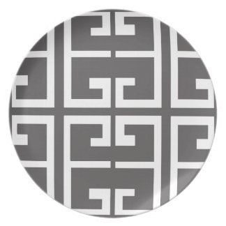 Gray and White Tile Party Plates