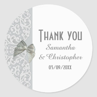 Gray and white traditional lace thank you classic round sticker