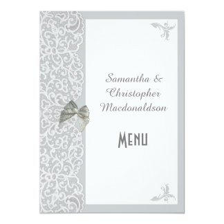 Gray and white traditional lace wedding menu card