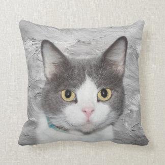 Gray and white tuxedo kitty throw pillow