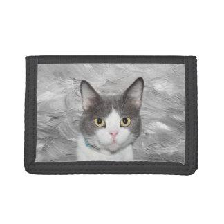 Gray and white tuxedo kitty trifold wallet