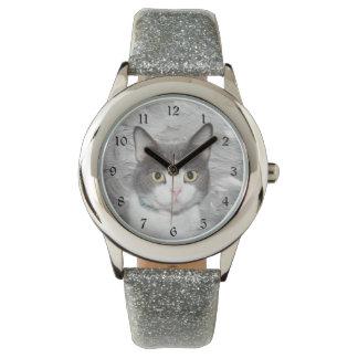 Gray and white tuxedo kitty wristwatch