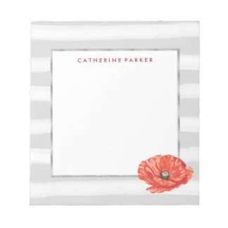 Gray and White Watercolor Stripes with Red Flower Notepad