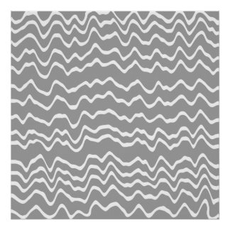 Gray and White Wave Pattern. Poster