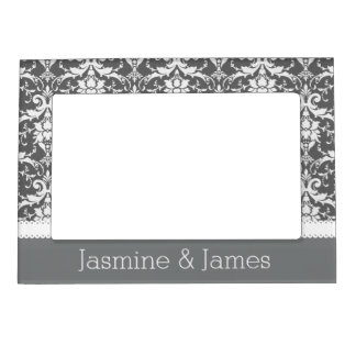 Gray and White Wedding Damask White Ribbon G14 Magnetic Frame