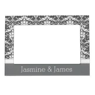 Gray and White Wedding Damask White Ribbon G14 Magnetic Frame
