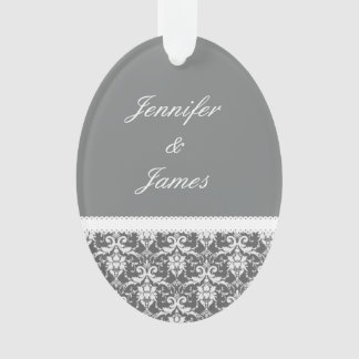 Gray and White Wedding Damask White Ribbon G72 Ornament